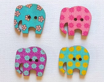 4 Wooden Elephant Buttons, Multi Color Buttons - #SB-00036