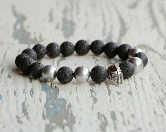 helmet bracelet lava men bracelets spartans jewelry helmet gladiator bracelet warrior beads black silver stone bracelet fathers gift for man