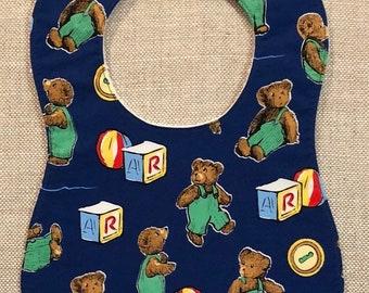 Baby Bib in Blue Corduroy Bear
