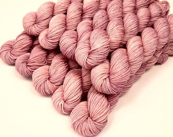Mini Skeins Sock Yarn, Hand Dyed Yarn, Sock Weight 4 Ply Superwash Merino Wool - Mallow - Fingering Knitting Yarn, Light Pink Tonal