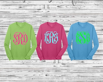 Monogrammed Shirts, Monogram long sleeve t shirt, Monogrammed gifts, Christmas Gifts, Long sleeve t shirts, Plus Sizes Available