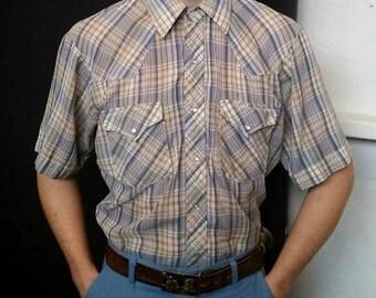 1950s Vintage Men's Plaid Pearl Snap Western Shirt Medium