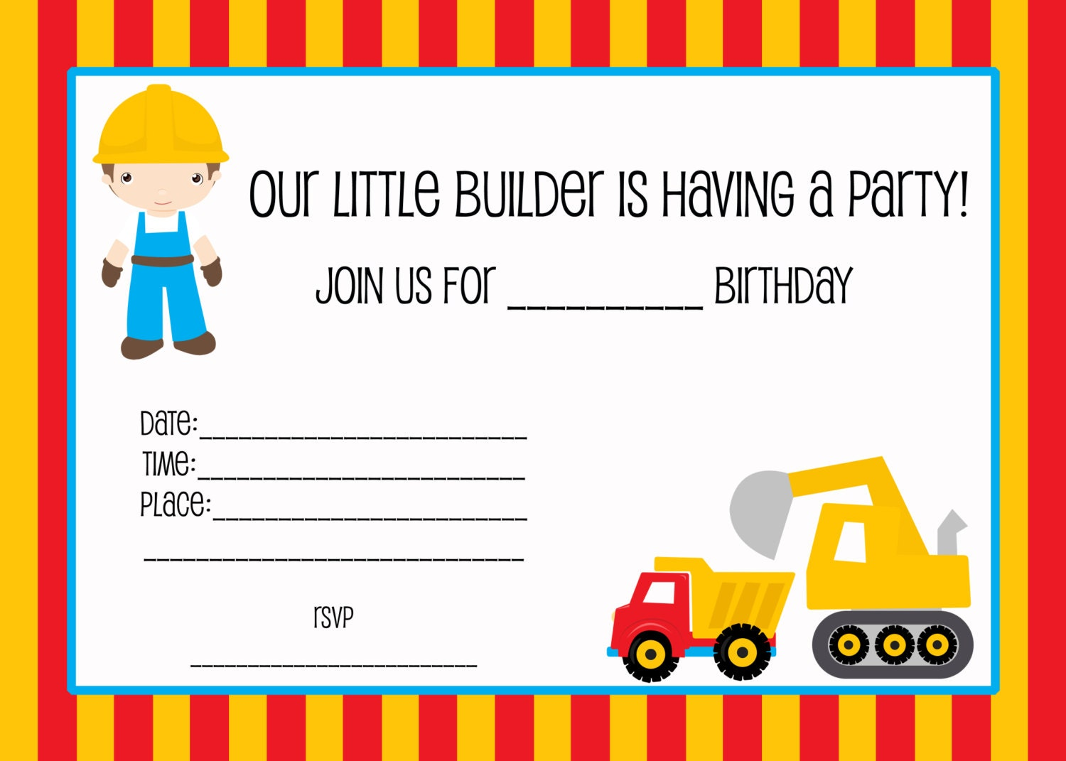 Fill In Birthday Party Invitations Printable Construction