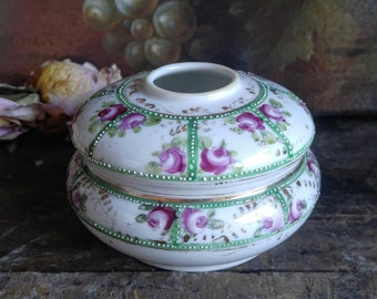 Vintage Hand-painted Japanese Porcelain Hair Receiver