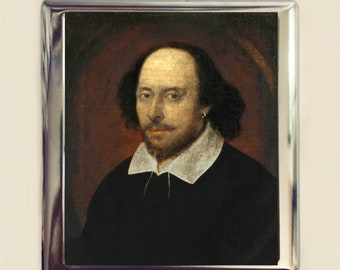 William Shakespeare Cigarette Case Business Card ID Holder Wallet Portrait of the Bard Gift for English Majors Literary