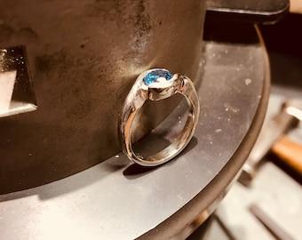 Silver chic London blue topaz ring