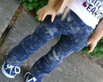 18 inch Doll Clothes - Dark Wash Bleached Straight Leg Jeans with real pockets - Blue Denim - fit American Girl - MADE TO ORDER