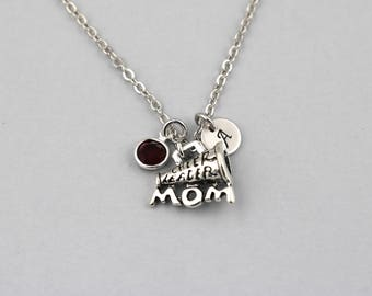 cheerleader mom necklace, sterling silver filled, initial necklace, OPTIONAL birthstone or pearl, megaphone jewelry, cheer mom necklace