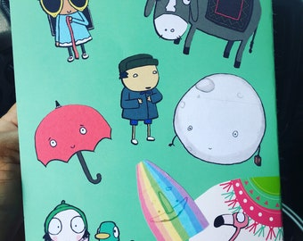 """Sarah and duck inspired 2"""" stickers assorted characters 8 stickers per sheet."""
