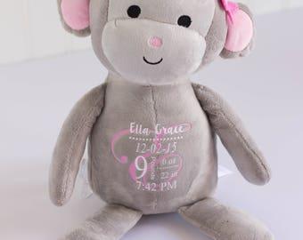 Birth Stat Monkey Birth Stat Animal, Birth Stat Gift, Plush monkey, Baby Shower Gift, Baby Girl Gift, Baby Gift, Personalized