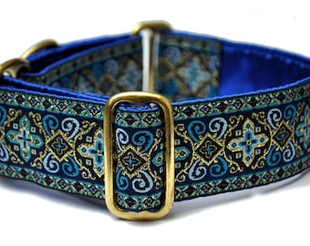 Martingale Dog Collar or Buckle Dog Collar - Custom Dog Collar - Wide Martingale Collar -  Nobility Jacquard in Blue - 1.5 Inch