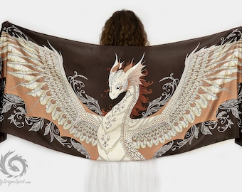 Brown silk scarf with a phoenix dragon - Fantasy shawl, Feathered dragon wings, Cute magical guardian, Fairytale wedding, Mystical creature