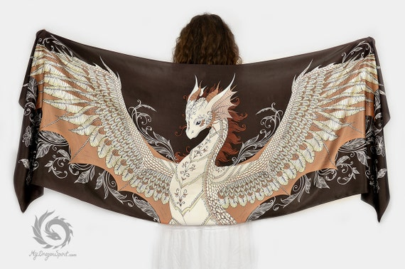 Brown silk scarf with a phoenix dragon
