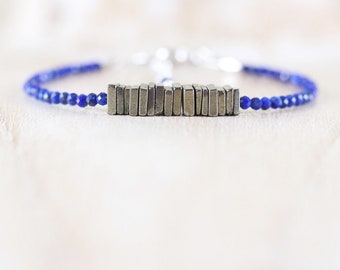 Pyrite & Lapis Lazuli Heishi Bead Bracelet. Sterling Silver, Rose, Gold Filled. Dainty Gemstone Stacking Bracelet. Womans Beaded Jewelry