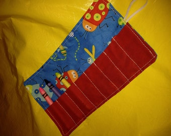 Crayon roll Beetle Boy BugsMore crayon rolls in my shop