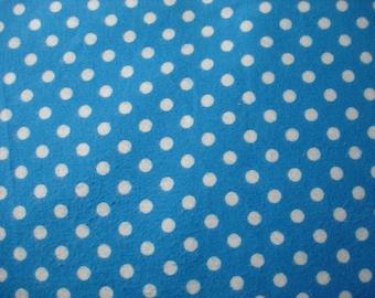 Aqua Polka Dot Flannel Fabric - Polka Dot Fabric - Cotton Flannel Fabric - Blue and White Polka Dot Fabric - Sale Fabric