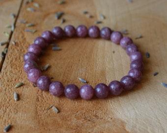 Lepidolite Bracelet Heart Chakra Bracelet Grade AA Lepidolite Stone Lepidolite Jewelry Gemstone Bracelet Yoga Bracelet Healing Crystals