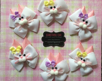 Easter Bunny Hairbow, Springtime bow, Easter egg hunt, Bunny Bow