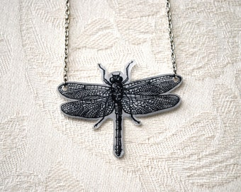 Dragonfly Hand-Drawn Necklace - Illustrated Tattoo-Look by LaceFlyDesigns