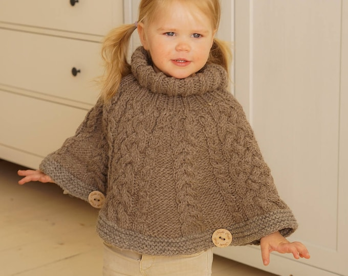 Knitted cable poncho Verona (12-18m size)