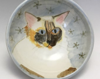 Kitty Bowl with Blue-Eyed Cat