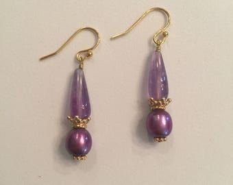 Amethyst & Pearl Earring