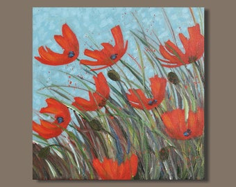 semi abstract painting, poppies, poppy flowers, small painting, poppy painting, turquoise blue, garden, field, floral painting, floral art
