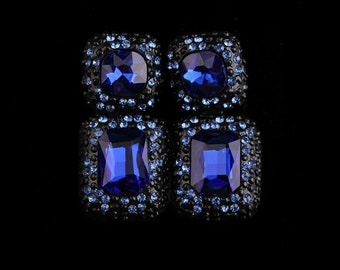 Crystal Drop Earrings - Blue
