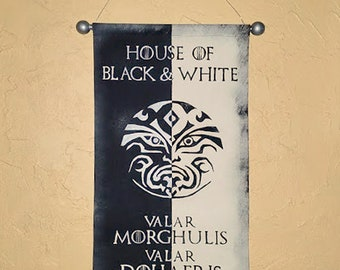 Hand Painted House of Black & White  Canvas Banner - Game of Thrones - Faceless Men - Valar Morghulis - Cosplay Prop - Flag - Sign - Sigil