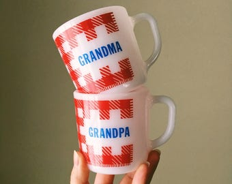 Westfield Grandma and Grandpa Personalized Mugs, Mid Century Coffee Mug, Milk Glass, Heat Proof, Sold Separately