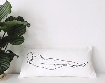 Reclining Nude Pillow Cover // Feminist Lumbar Throw Pillow // Naked Lady Pillow 24 x 12 inch // Black and White Woman Print // Gift for Her