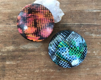 Magnet set polymer clay orange and blue