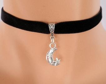 moon star choker, black velvet choker, star necklace, moon necklace, stretch ribbon