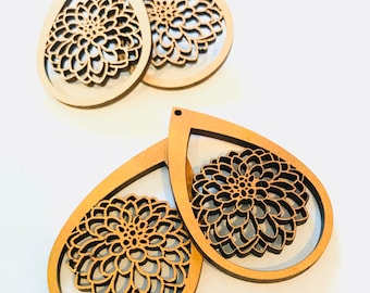 Wood Dahlia Earrings - Eco-friendly Fashion Besties, Sisters, Mom, LDR, 5th Anniversary