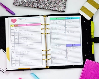 RAINBOW A5 Undated Filofax / Kikki K Large Planner - 2 Pages Printable Weekly WO2P Planner Insert PDF