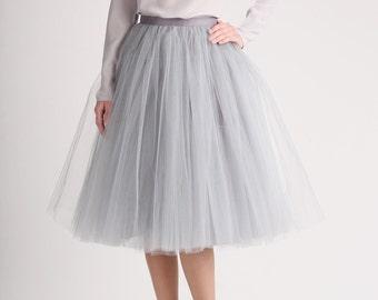 PLUS SIZE Grey tulle skirt, Handmade long skirt, Handmade tutu skirt, High quality skirt, Tea length petticoat, Tea length skirt
