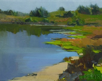 Lake Painting, Plein Air Painting, Blue and Green Canvas Oil Art, Original Landscape Oil Painting on Canvas Nature Art Painting