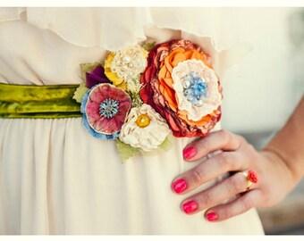 Wedding Sashes and Belts - Bridal Sash - Unique Wedding Sash - Floral Bridal Sash - Bridal Belt Flowers - Ribbon Belt with Flower - Sash