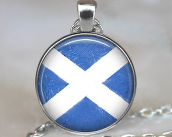 Scottish flag necklace, Flag of Scotland pendant Scottish Saltire flag jewelry St Andrew's Cross travel gift key chain key ring key fob