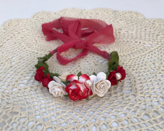 Red Floral Crown - Baby Girl Flower crown - Baby Headband