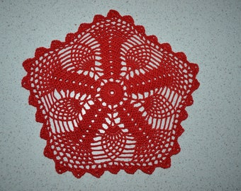 Handmade red doily, 22 cm, Hexagon crocheted with fine cotton