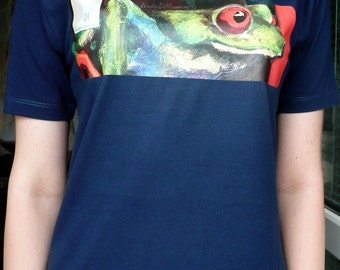 Frog detail Printed Art Blue Cotton T-shirt