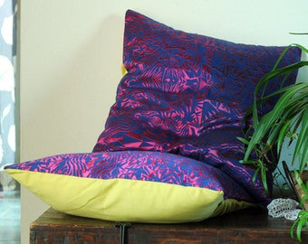Blu & Fucsia jacquard pillow cover 20x20