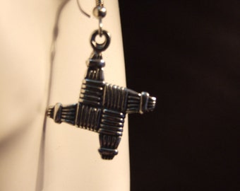 St Brigid's cross earrings made with Australian Pewter and Surgical Steel hook