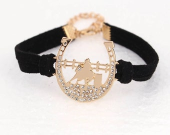 Barrel Racing Bracelet - horseback riding, equestrian, western
