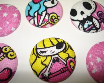 Gothic Kawaii Lolita Magnet Set - Pink Stars and Skulls, Teddy Bears, Heart Keys