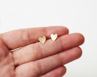 Heart Stud Earrings / Gold Heart Earrings / Heart Studs in Sterling Silver, 14k Gold Fill or Rose Gold