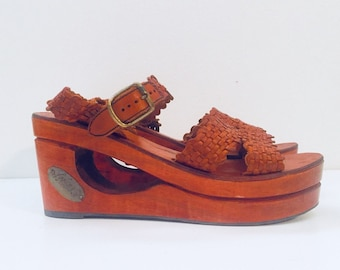 70s Platform Clog Sandals Wood Wedge Sandals Cut Out Heels Braided Leather Sandals Size 8 M 38 39 made in Brazil by Danelle Unused