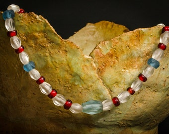 Necklace with recycled glass beads from Ghana