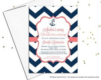 Nautical bridal shower invitations - navy and coral wedding shower invitations - chevron invitation - anchor - printable or printed (658)